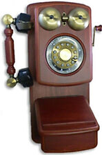 Gorgeous Antique-Style Country Telephone Mahogany Wood Wall Phone Functional