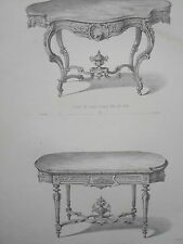Table salon LOUIS XV LOUIS XVI GRAVURE le MAGASIN de MEUBLES Victor QUETIN 19éme