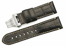 24mm Genuine Croco Alligator Grain Leather Watch Straps Band For Panerai Mens