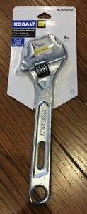KOBALT Adjustable Wrench 8 inch - Chrome Vanadium Steel - Extra Wide Jaw 464605