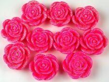 10pcs Pink Glitter Flowers Resin Flatbacks Scrapbooking Cabochons Jewelry 20mm