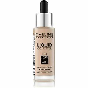 Foundation Eveline Liquid Control HD Long Mattifying Drops 32ml (030) Sand Beige