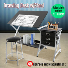 New Tiltable Drawing Board Table Art Drafting Study Desk Tabletop W/ Stool Grey