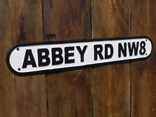 VINTAGE CAST IRON LONDRA DEI BEATLES ABBEY ROAD Studio Street Sign Wall Art Placca