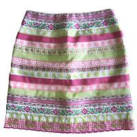 Lilly Pulitzer Flirty Skirt Short Multi Ribbon Pink Stripes Size 0 White Tag