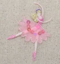 Iron On Applique Embroidered Patch Ballerina Dancer Pink Ballet Dress Sequins