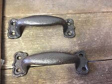 Set of 2 Small Drawer Pulls Handles Antique Look Rustic Brown/ Black w/Hardware