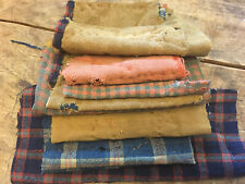 New listing 8 Early Antique Linsey Woolsey Fabric Fragments Blue bittersweet Textile Aafa