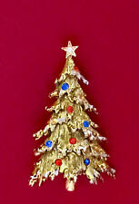 Vintage Brooch Pin SIGNED ART Christmas Tree Rhinestones Gold tone COLLECTIBLE!