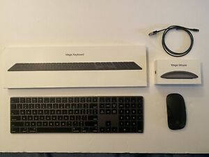 Apple Black Keyboard and Black Mouse