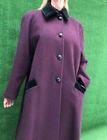Vintage Christian Dior Plum Wine Wool Velvet Trim Long Coat Women Size 12 MED