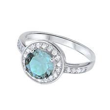 Aquamarine Round Fashion Halo Clear CZ Sterling Silver Ring
