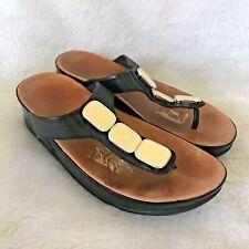 FitFlops Flip Flops Sandals Embellished Black Tan Cream Jeweled Toning Shoes 9