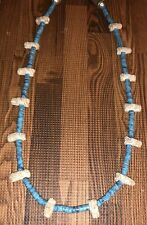 Attributed To Pre Columbian Carved Bead & Hand Rolled Turquoise Heishi Necklace