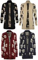 Women Ladies Owl Aztec Skull  Print Knitted Long Sleeve Jumper Open Cardigan