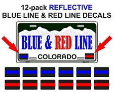 REFLECTIVE THIN RED and BLUE LINE License Plate Decals Stickers Police Fire EMT
