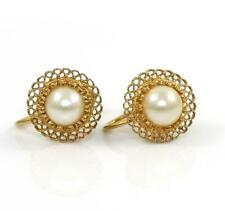 Solid 14K Yellow Gold Screwback Pearl Filigree Flower Earrings