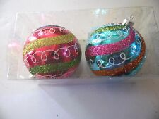 2 Turquoise & Pink Ball Ornament Blue Green Gold Glitter Christmas Decoroation