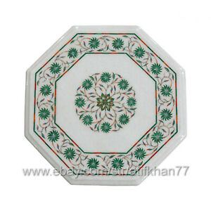 Octagonal Side Table for Living Room Marble Inlay Table Pietra Dura Art