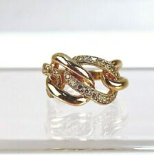14 Karat Gold & Diamond Ring Cocktail Ring - Entwined Links 14k VR