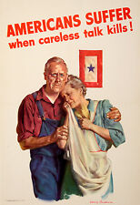 Original Vintage WWII Poster Careless Talk by Harry Anderson 1943 American
