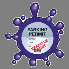 PARKING PERMIT Holder VIOLET SPLAT self-cling window graphic, decor – Freepost