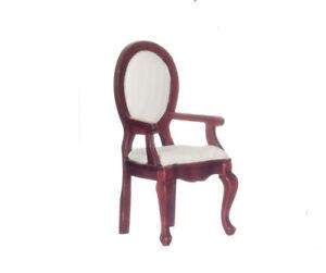 1:12 Miniature Dollhouse~ Wood Arm Chair Cream fabric w/pale stripes  NEW IN BOX