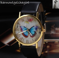 Fashion Black Dial Butterfly Lady Girl Quartz Crystal Wristwatch White UK Sell
