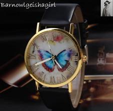 Reloj de Pulsera Moda Negro Dial Mariposa Dama Niña Cristal de Cuarzo Blanco Reino Unido vender