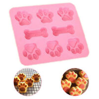 Silicone Mold Pet Puppy Dog Paw Bone Candy Ice Cube Chocolate Baking Mould Pink