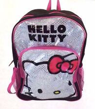 Hello Kitty Sanrio Women's Pink Black Backpack, Book bag Large, Sparkle