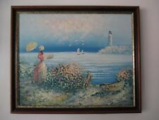 """Rabous """"lélégante au bord de mer"""" huile sur toile impressionnisme XXème Tableau"""