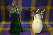 Pair of Beautiful Glass Angel Ornaments, One w/Forest Green Robe&Other White
