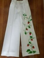 Hand Painted Vintage 70' Women Art Pants Size 2 White Strawberry Flare Wide Leg