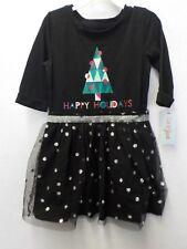 GIRLS SIZE LARGE 10/12 CAT & JACK BLACK HAPPY HOLIDAYS TREE DRESS GLITTER #11595