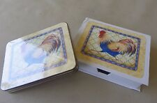 Set Of 4 Rooster Coasters By Linda Grayson Cork Back With Box