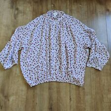 Anna Glover for H&M pink floral long sleeve oversized top blouse size 12-14