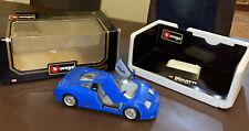 BBURAGO-BUGATTI-EB110-1/18-SCALE-BLUE-1991-3035-N/Mint-FAB COLLECTION-BOXED