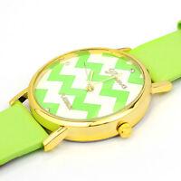 Fashion Wave pattern Dial Man Woman Watch PU Leather Analog Quartz Wrist Watches