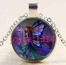 Butterfly fairy Cabochon Tibetan silver Glass Chain Pendant Necklace #2413