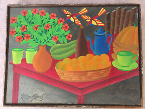 Salnave Philippe-Auguste signed Original Still Life painting Haitian