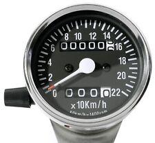 Minitacho 60mm Schwarz Chrom 2:1 für Harley Suzuki Honda Yamaha KM/h Universal