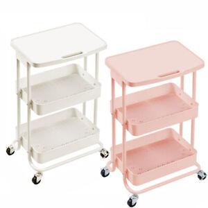 Kitchen Storage Trolley with Flat Top Shelf Rack Salon Hairdresser Barber Cart