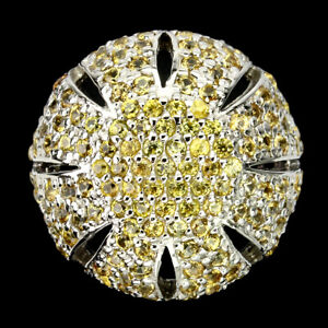 Round Yellow Sapphire Diamond Cut White Gold Plate 925 Sterling Silver Ring 8.5