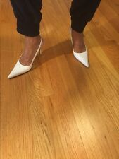 Dolce And Gabbana White Slingback Leather Heel Size 6