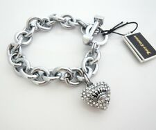 Juicy Couture Pave Heart & Toggle Icon Bracelet Iconic Collection Silver RV$58