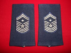 Pair Of US Air Force FIRST SERGEANT Rank Shoulder Badges Epaulets (Male)