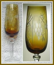 HONEY GOLDEN AMBER Champagne Flute Glass CUT TO CLEAR 24% CRYSTAL Germany TRAUBE