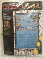 Columbia Minerva Creative Crewel 1974 Calendar 7342 FOUR SEASONS Kit Embroidery