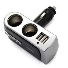 Dual Socket 2 Way USB Port Car Cigarette Lighter Splitter 12/24V Charger Adapter